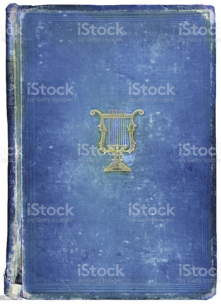 Worn antique book with Musical Symbol stock photo