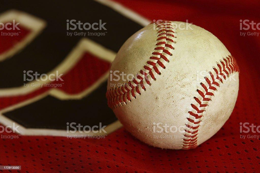 Worn Baseball and Jersey royalty-free stock photo