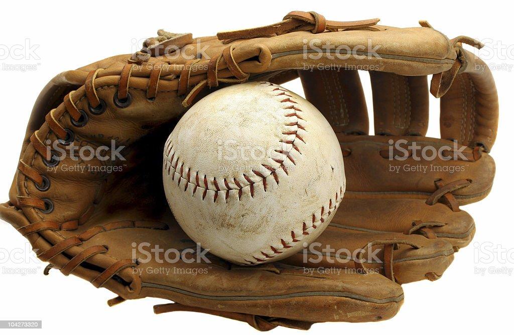 Worn Baseball Mitt and Ball stock photo