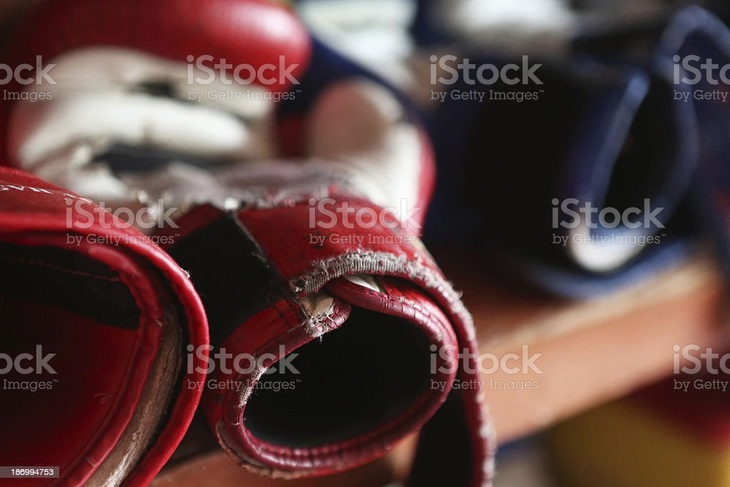 Worn Boxing Gloves stock photo