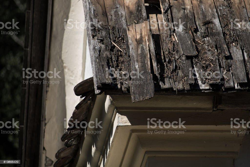Worn church roof stock photo