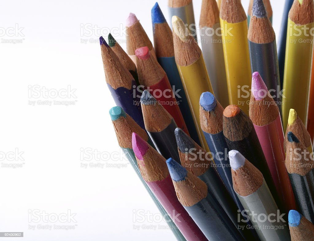 Worn colored pencils royalty-free stock photo