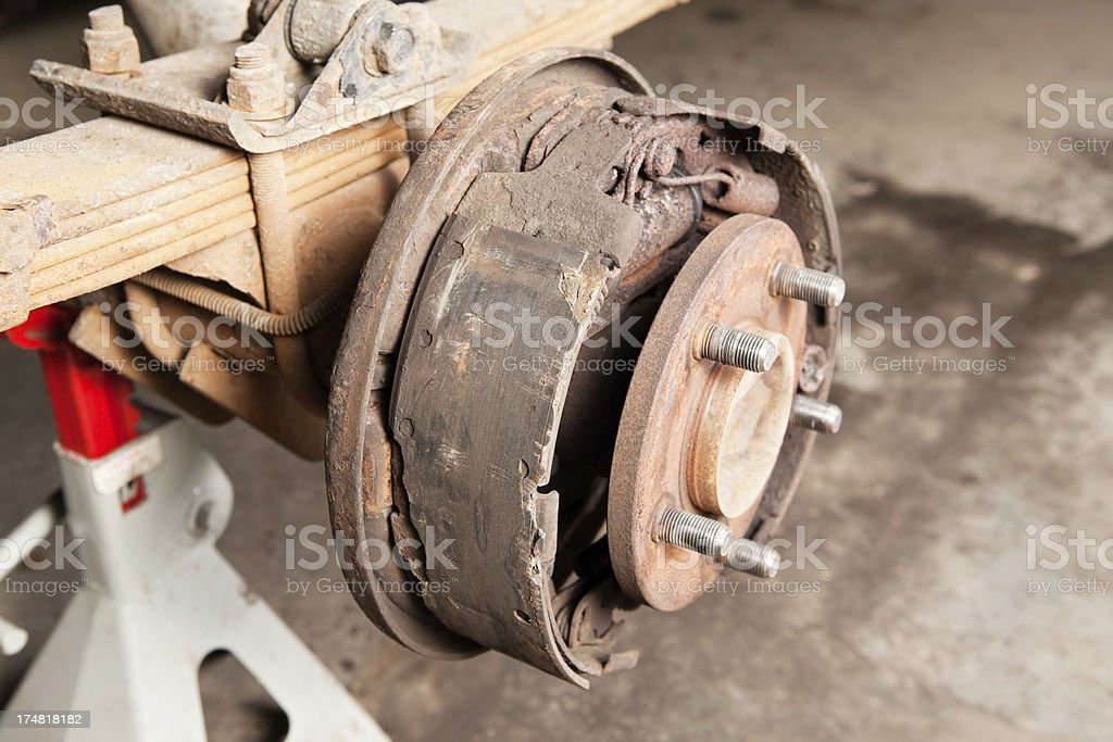 Worn Drum Brake in need of Replacement royalty-free stock photo