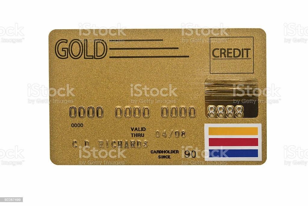 Worn Gold Credit Card stock photo