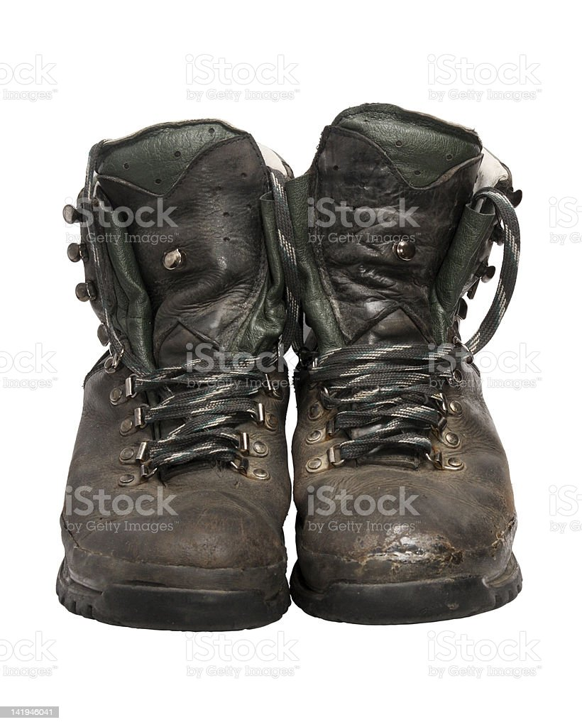 Worn hiking boots royalty-free stock photo