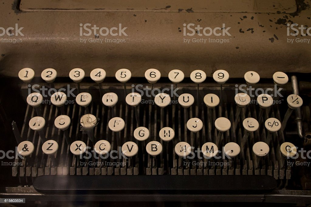 Worn keys on a old typewriter stock photo