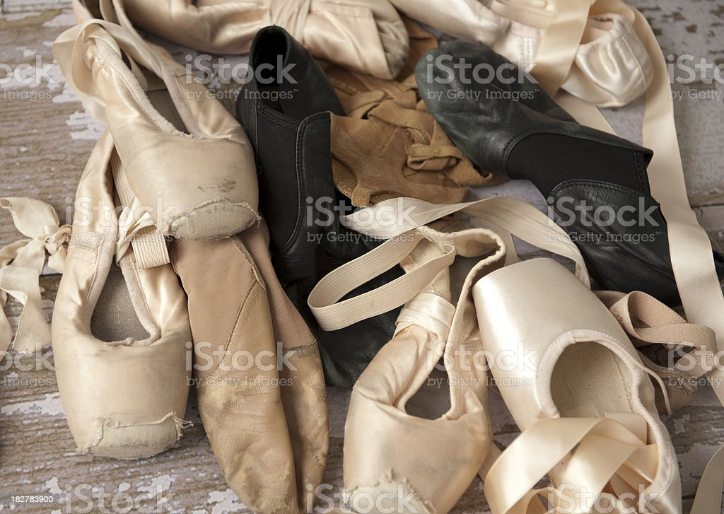 worn out dance shoes stock photo