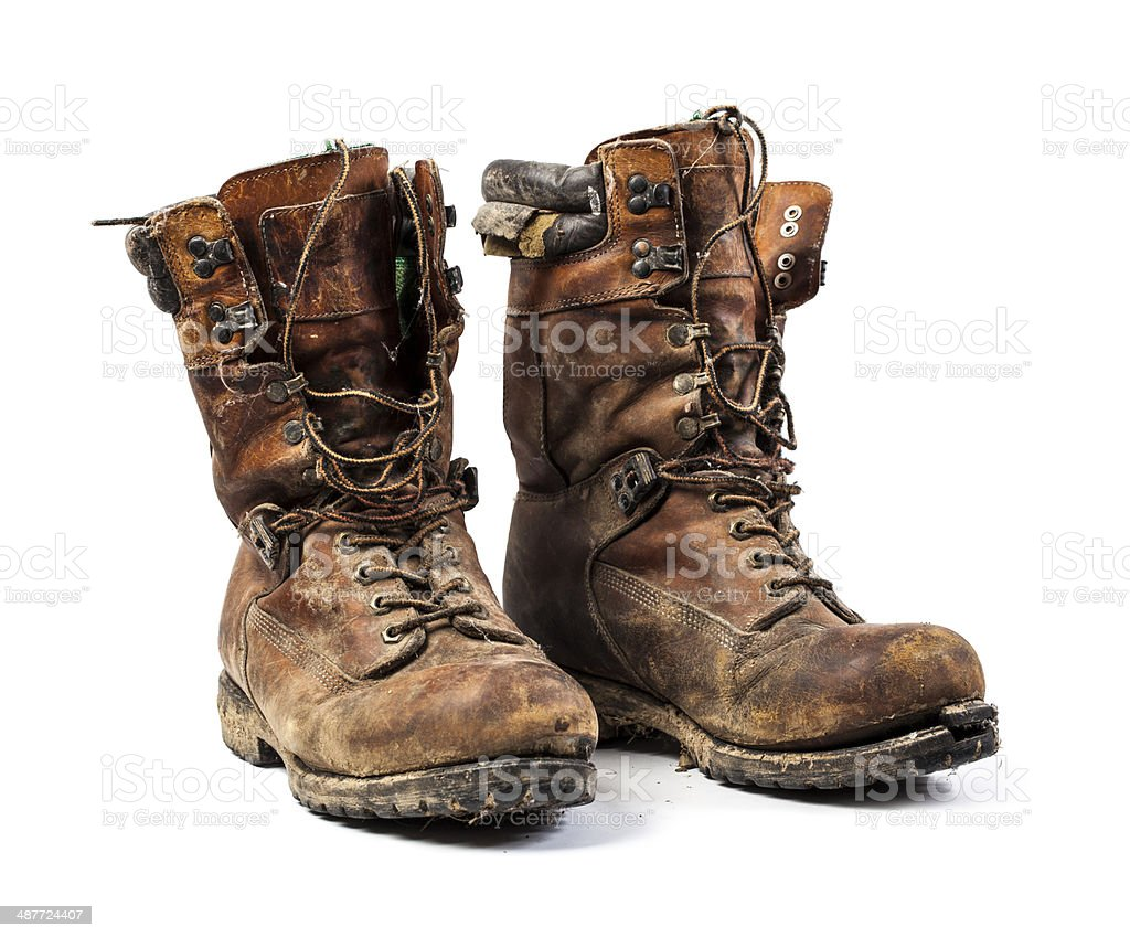 Worn Out Leather Work Boots royalty-free stock photo