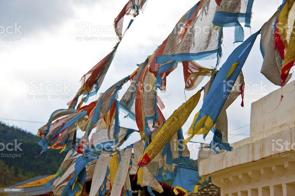 Worn out Prayer Flags stock photo