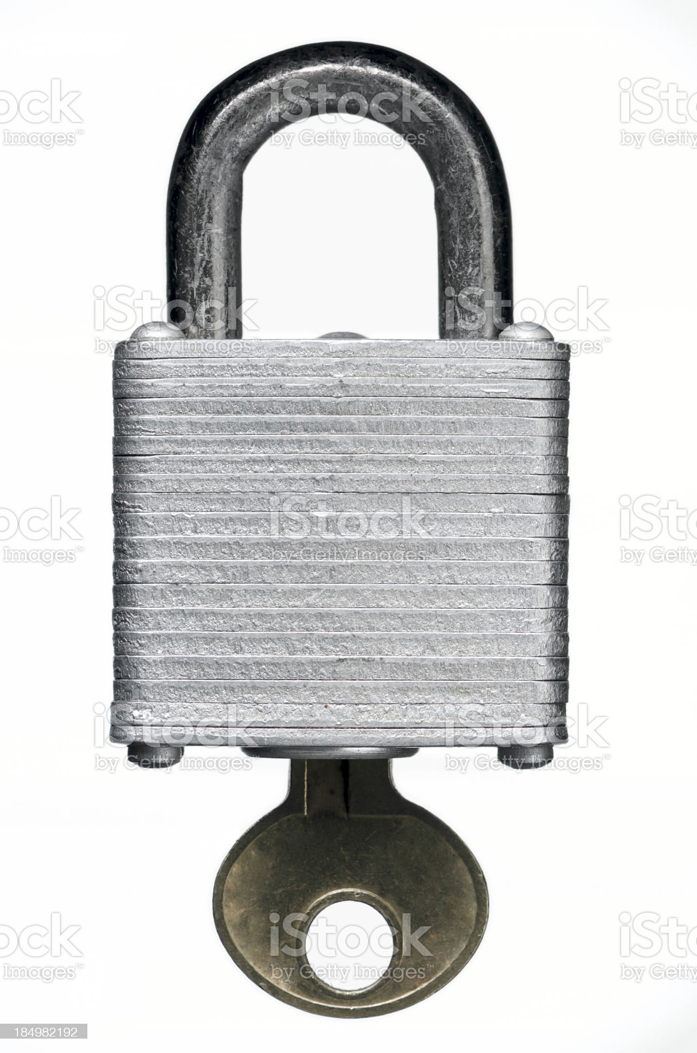 Worn Padlock and Key Isolated on White with Clipping Path royalty-free stock photo
