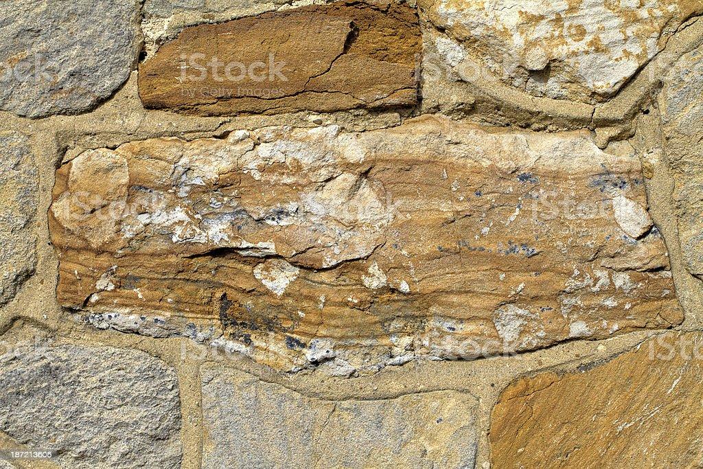 Worn sandstone brick on 19th century church wall royalty-free stock photo