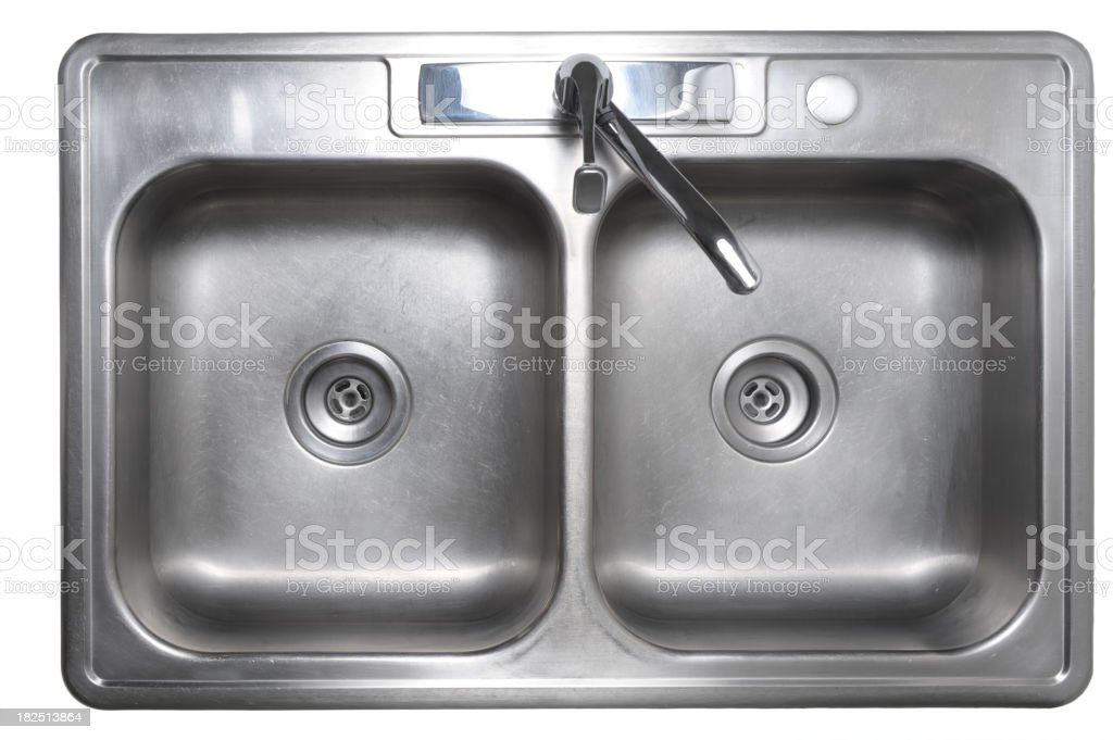 Worn Stainless Steel Kitchen Sink Isolated on White Background royalty-free stock photo