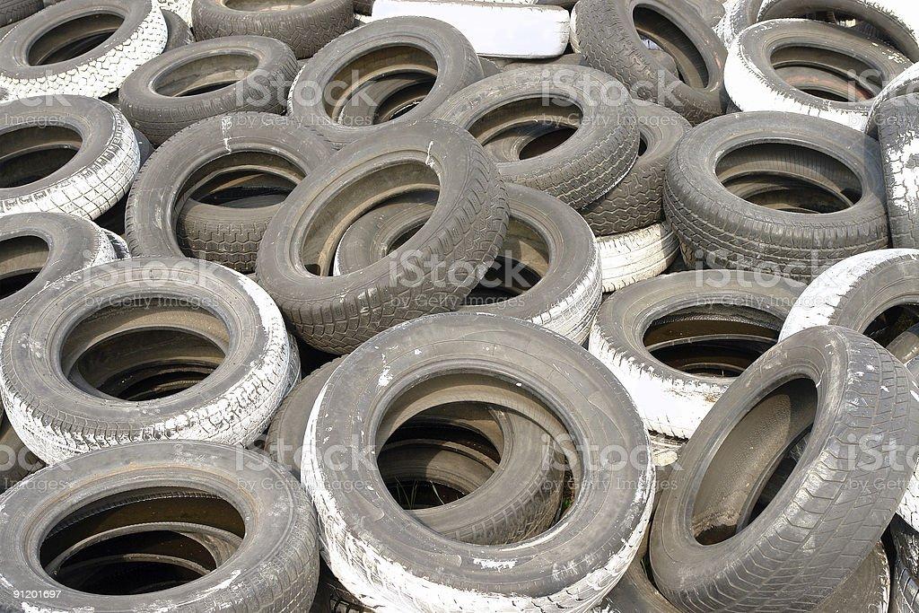 Worn tires stock photo