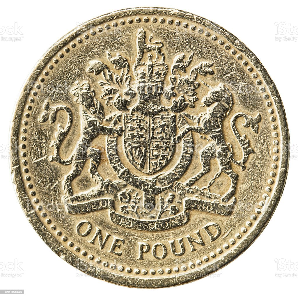 Worn UK Pound Coin Close-up stock photo