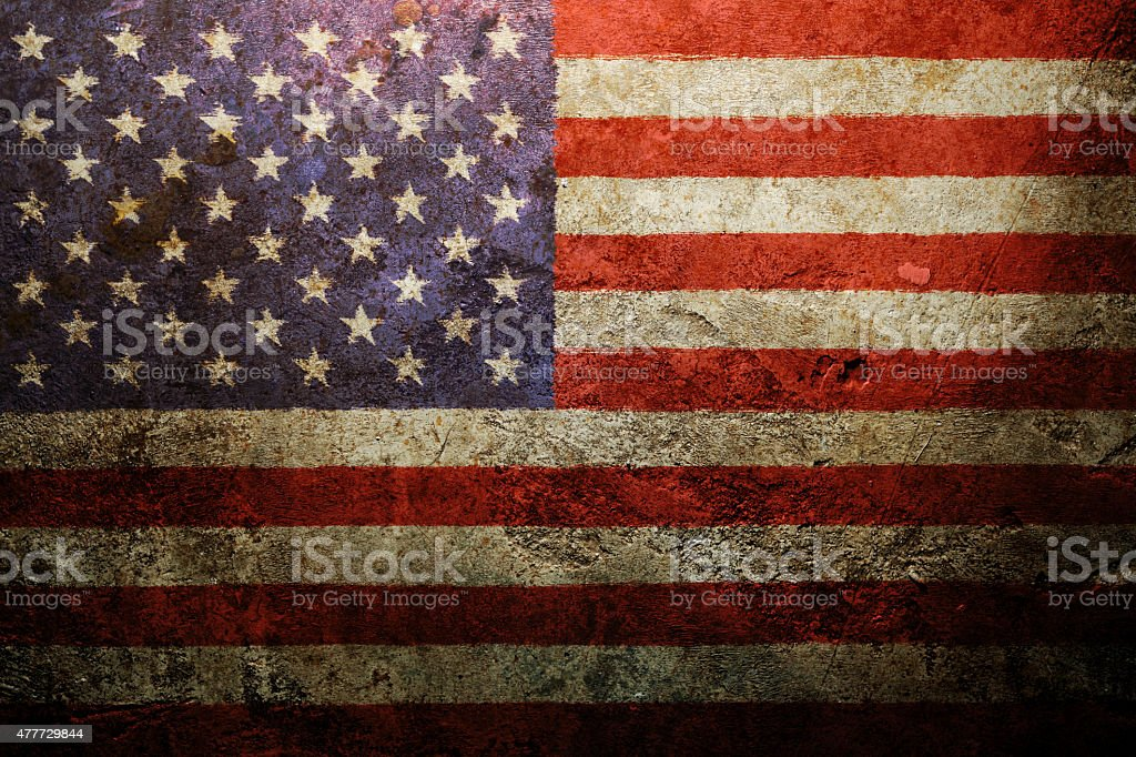 Worn vintage American flag background stock photo
