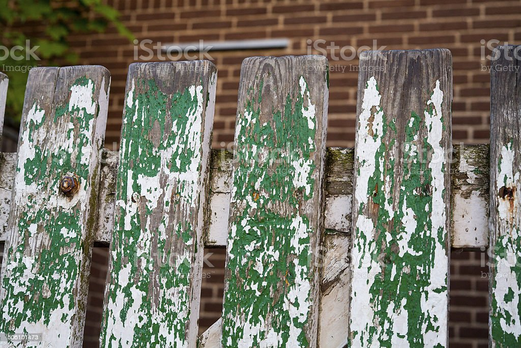 Worn Weathered Picket Fence stock photo