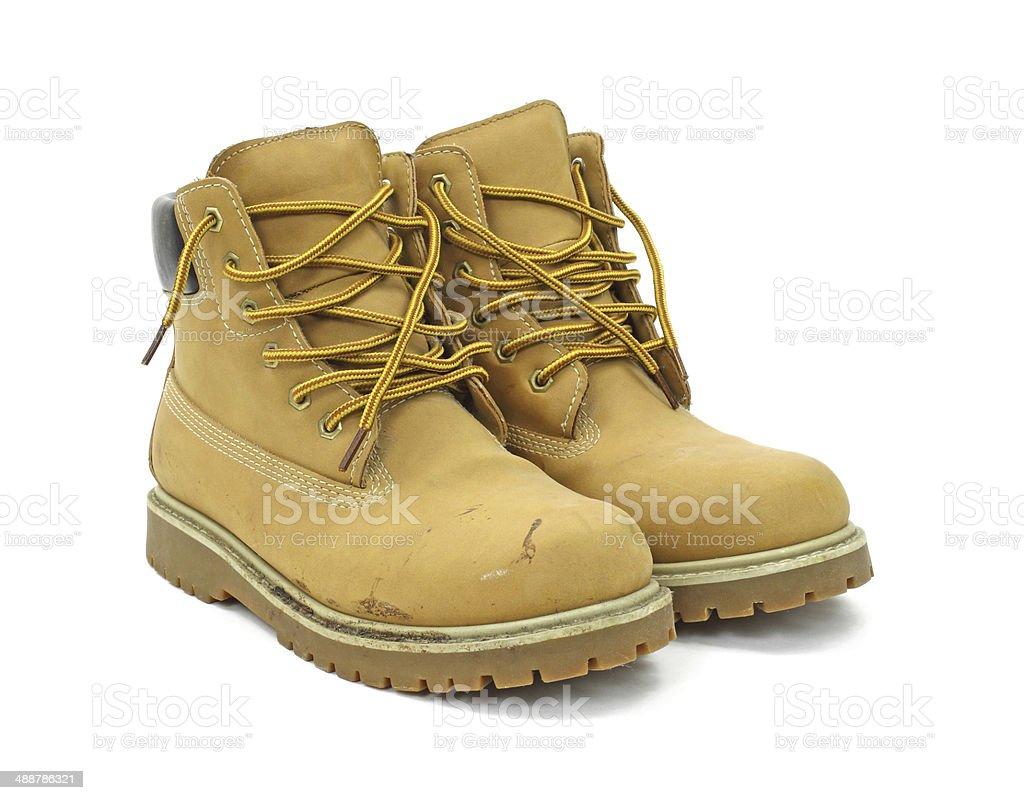 Worn work boots stock photo