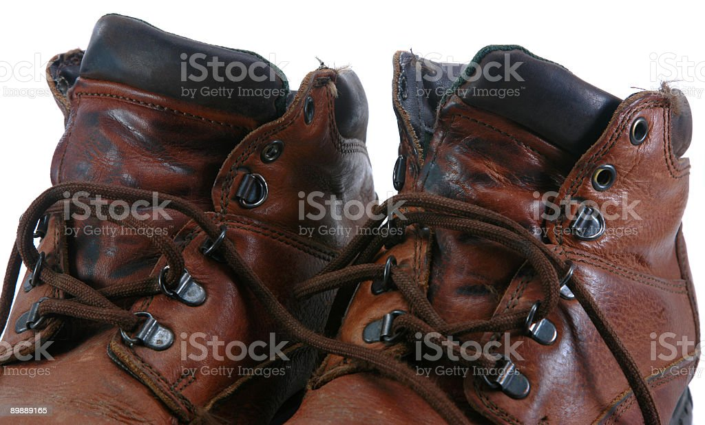 Worn Work Boots stock photo