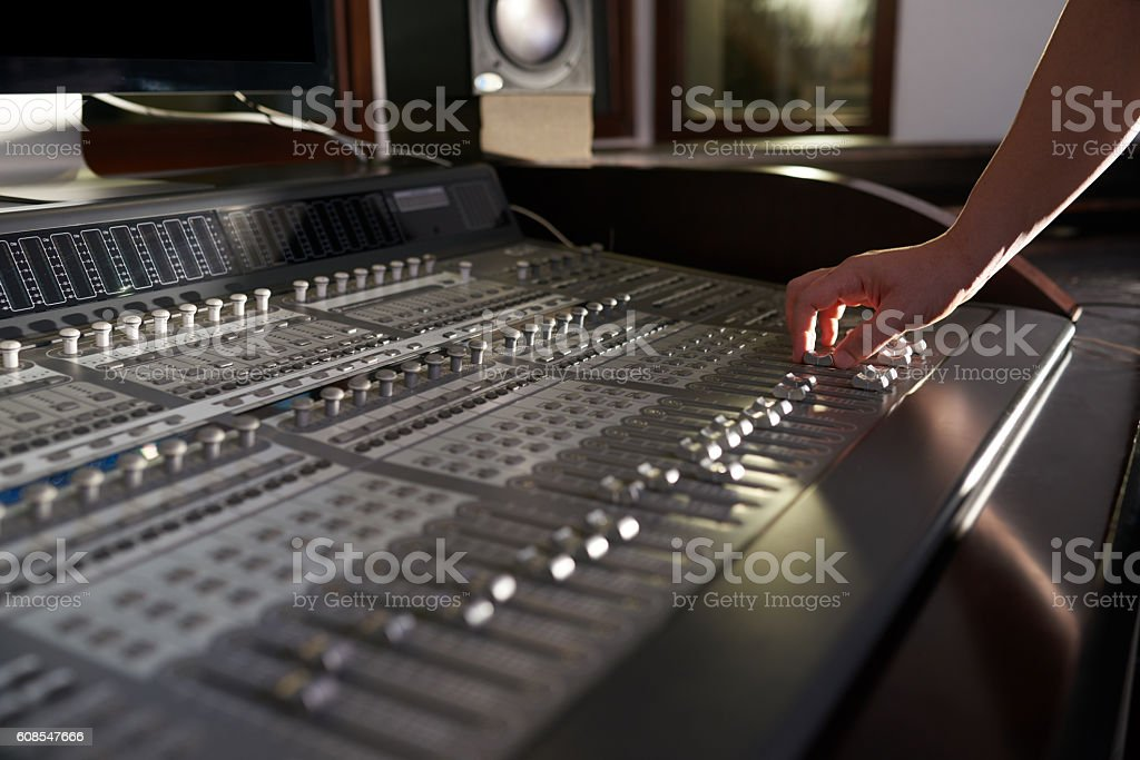 Worning on sound effects stock photo