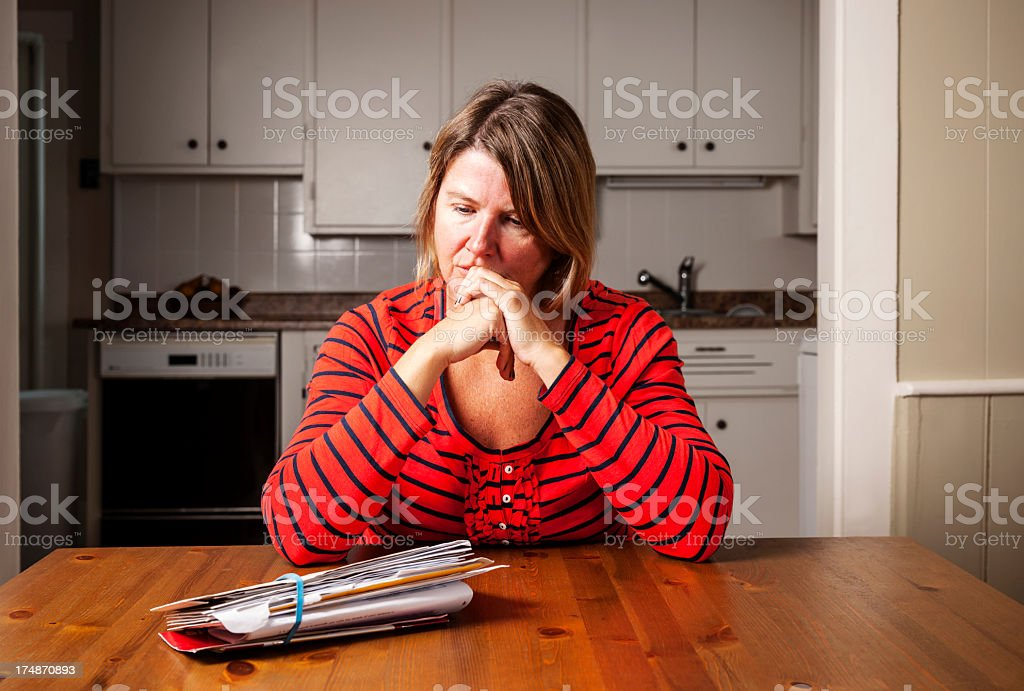 Worried about bills stock photo