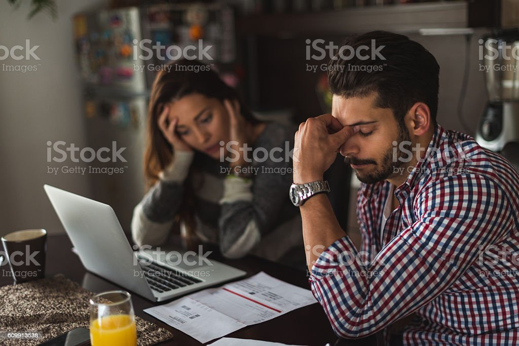 Worried about debts stock photo