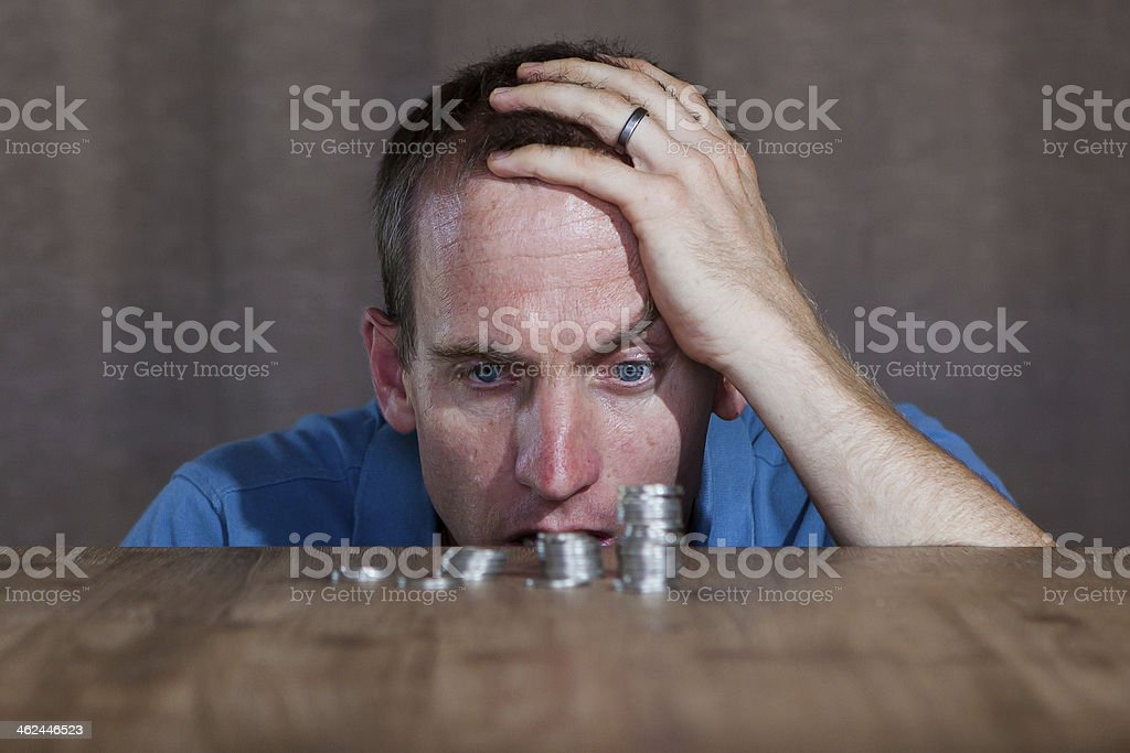 Worried about the financial crisis! stock photo
