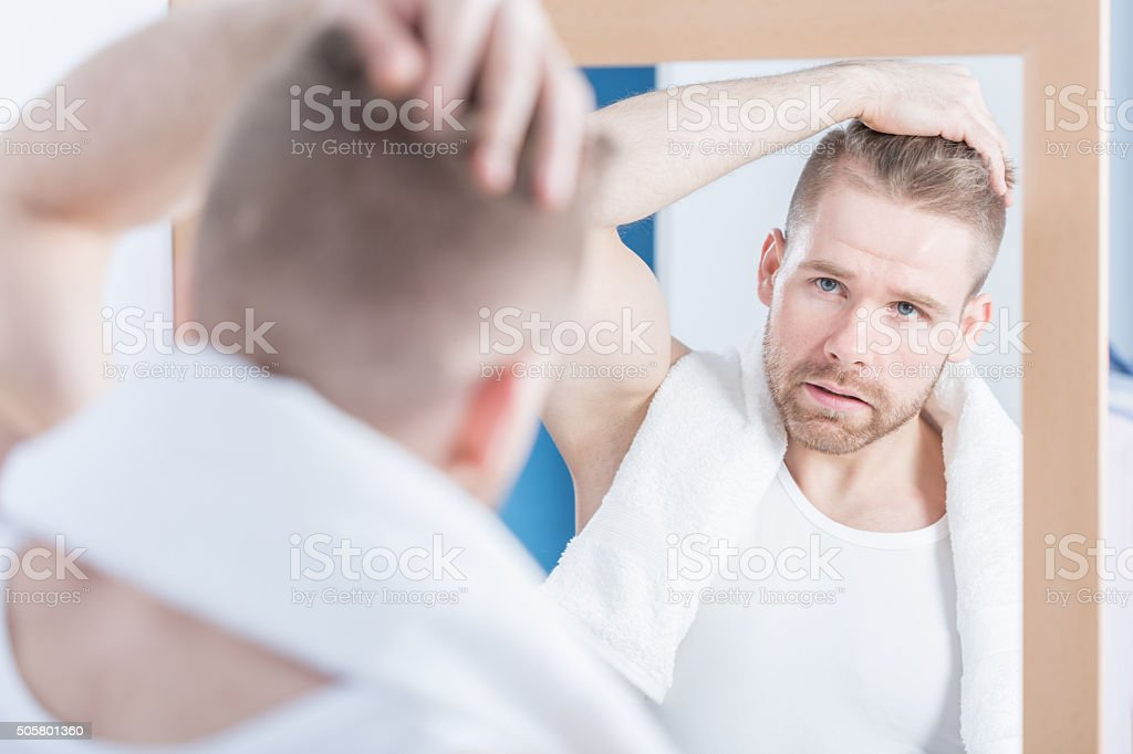 Worried about wrinkle stock photo