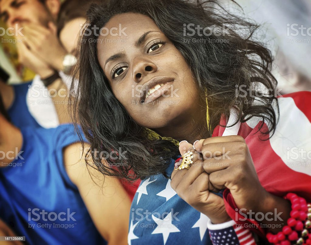 Worried American Fans royalty-free stock photo