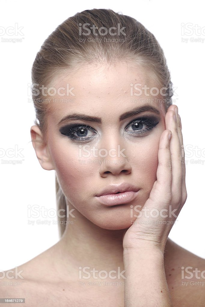 Worried beautiful teenage girl with skin problems royalty-free stock photo