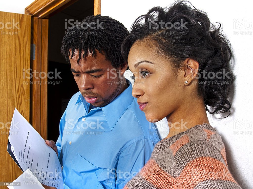 Worried Black Actors Waiting to Audition stock photo