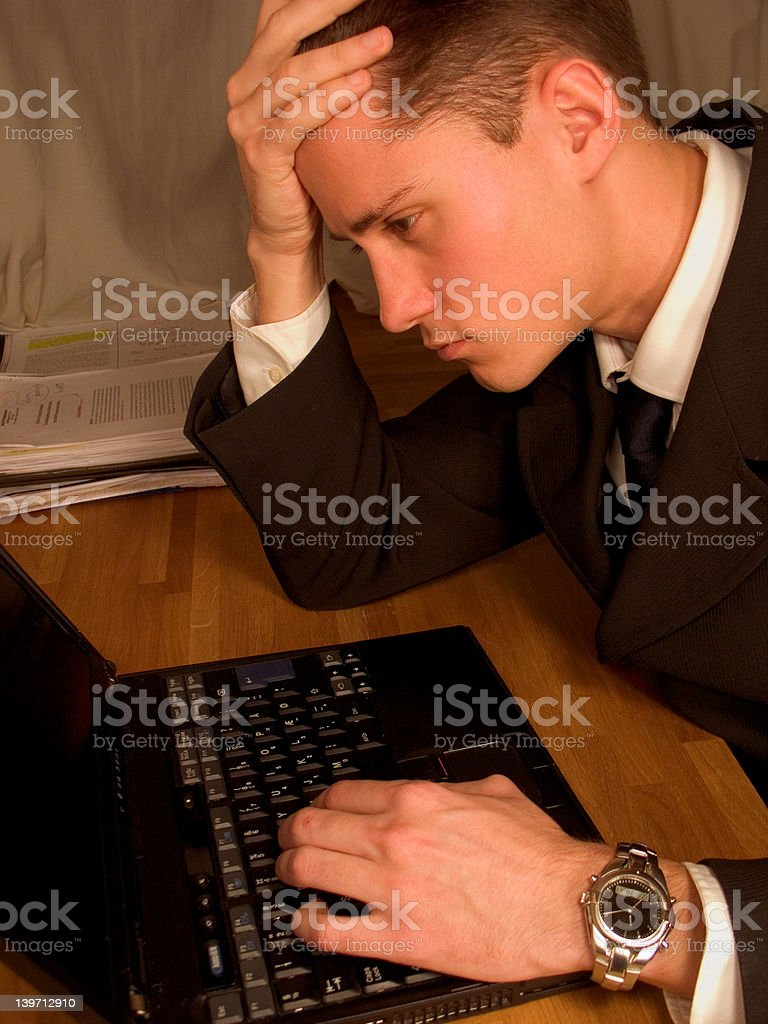 Worried Business Man With Laptop royalty-free stock photo