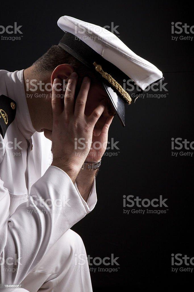 Worried Captain stock photo