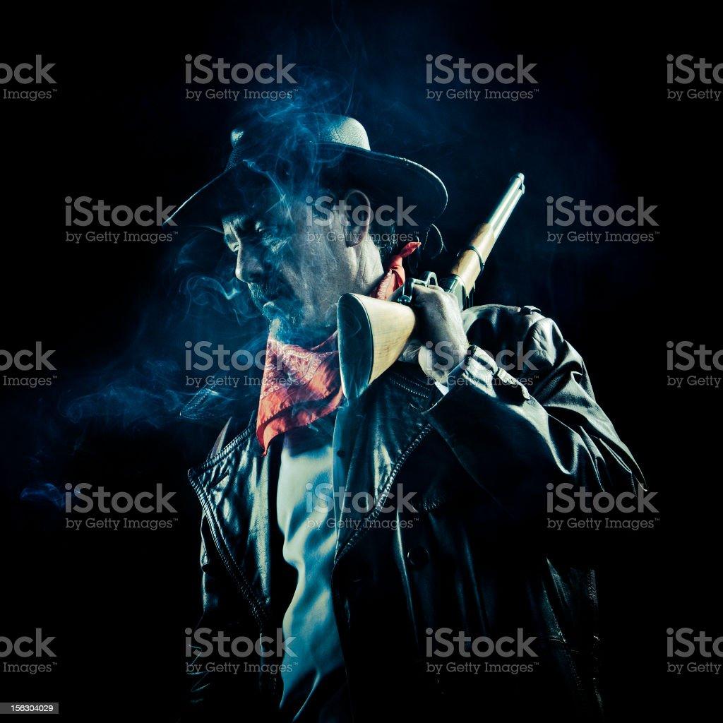 worried cowboy smoking royalty-free stock photo