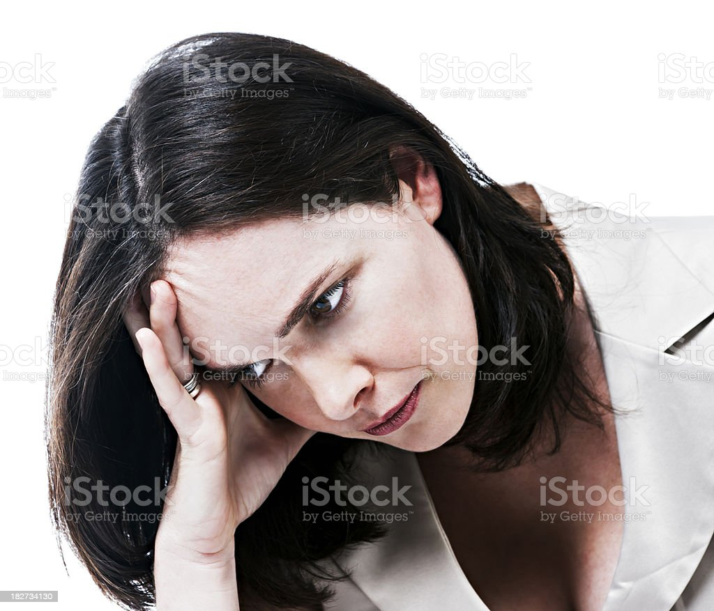 Worried, frustrated, angry or all of the above! stock photo