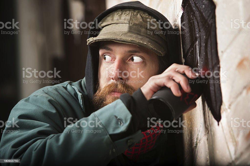 Worried Graffiti Artist stock photo