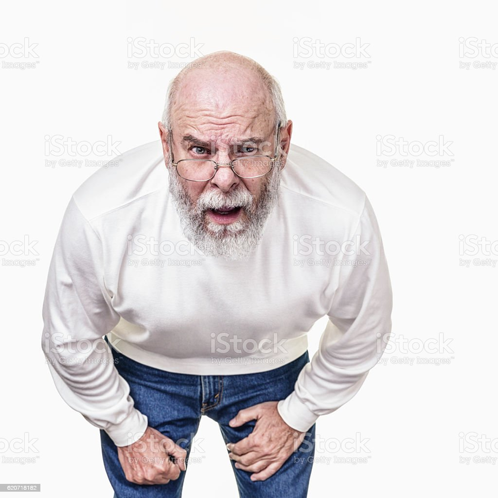 Worried Grandfather In Your Face Asking Questions stock photo