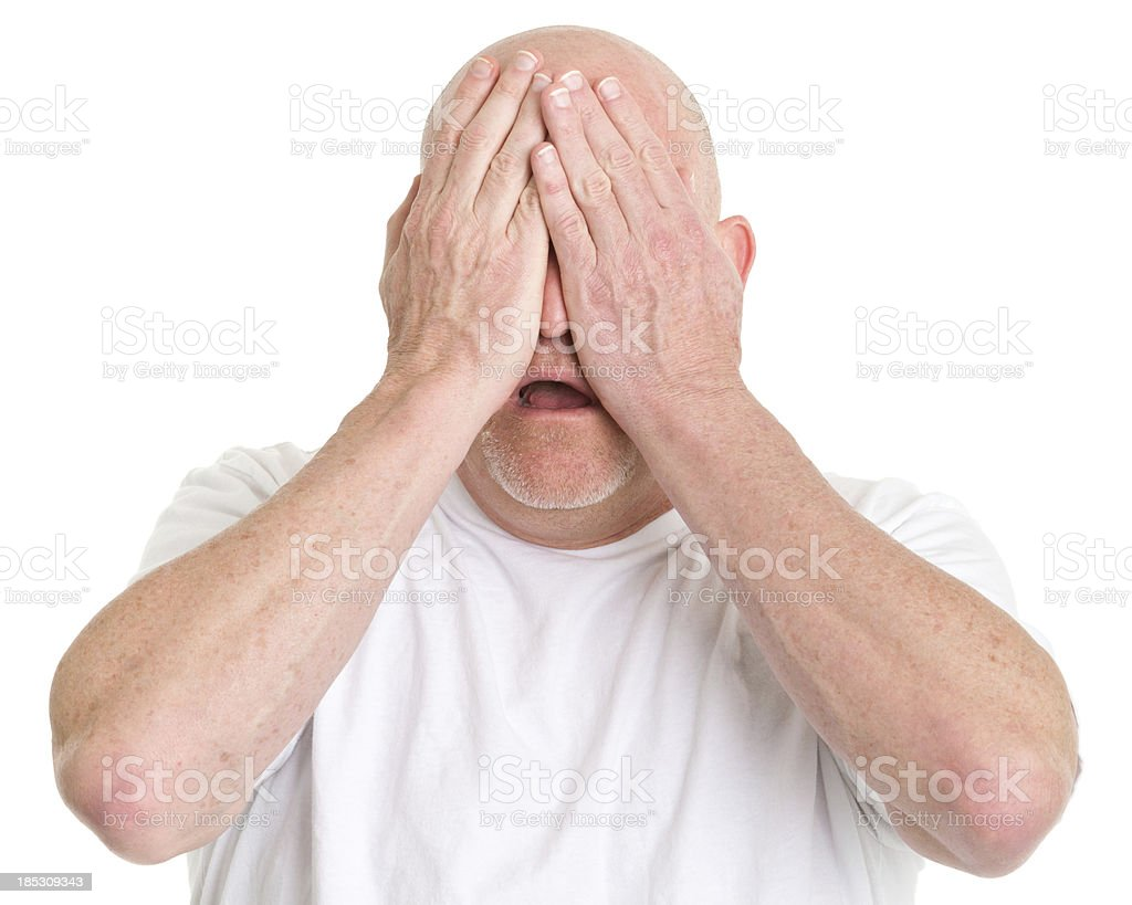 Worried Man Covering Eyes royalty-free stock photo