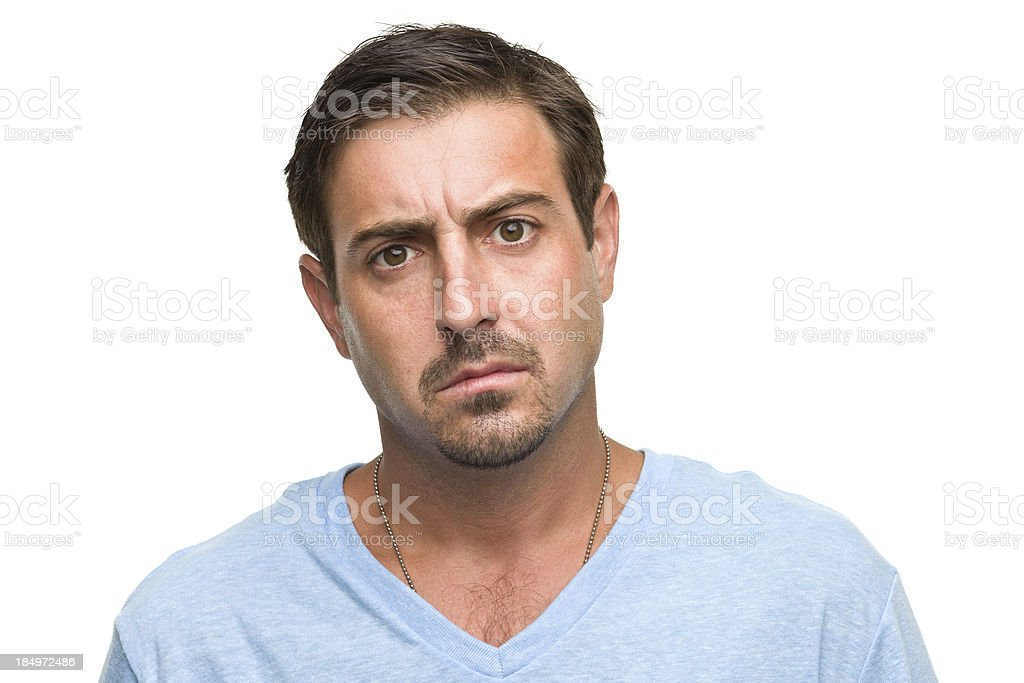 Worried Man Headshot royalty-free stock photo