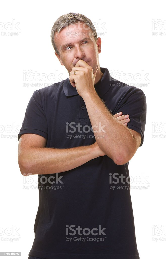 worried man thinking stock photo