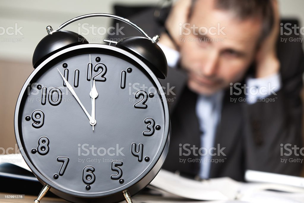 Worried office manager being finished. royalty-free stock photo