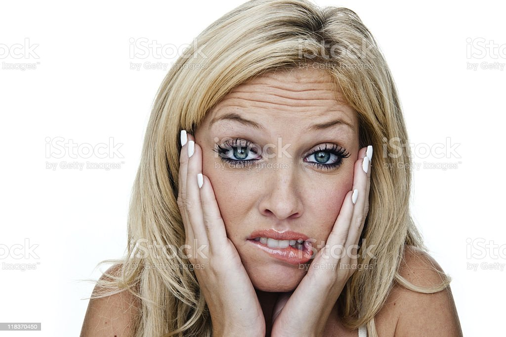 Worried or sad woman royalty-free stock photo