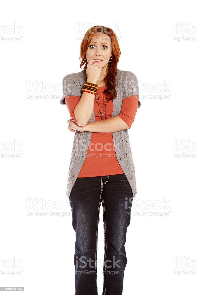 Worried Red Haired Woman royalty-free stock photo