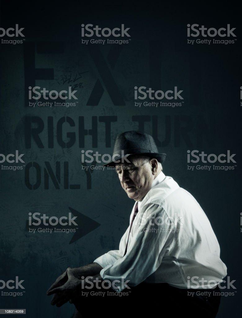 worried senior man stock photo