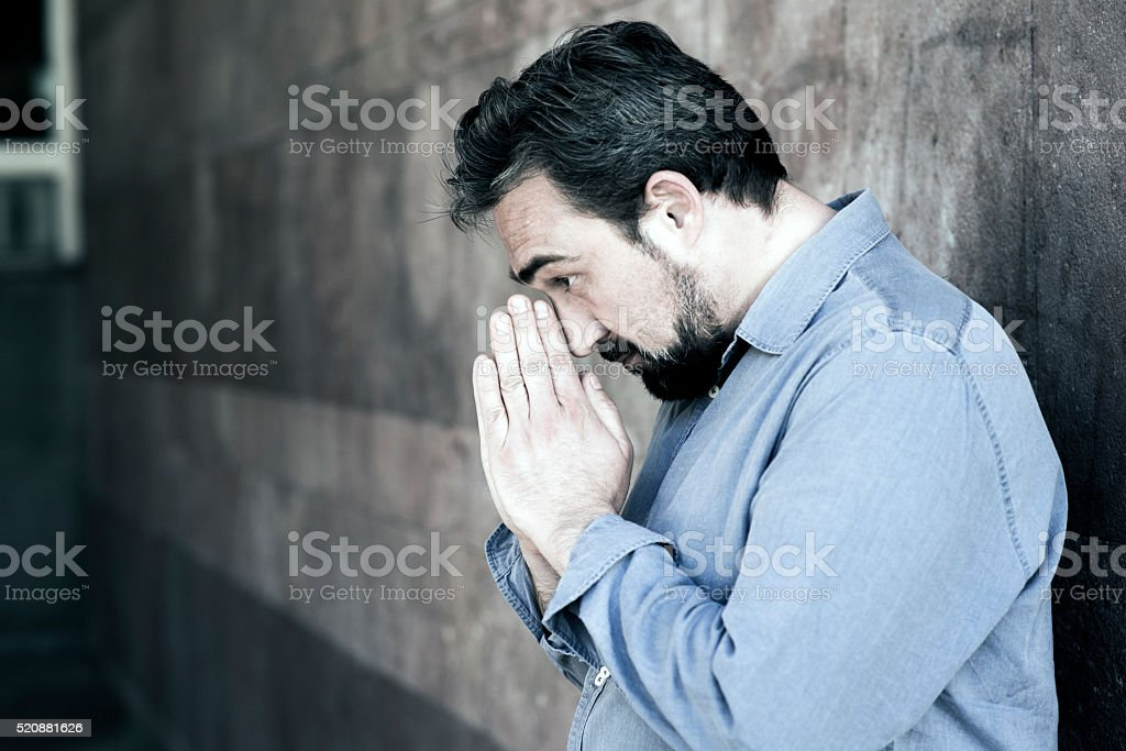 Worried Sincere Prayer stock photo