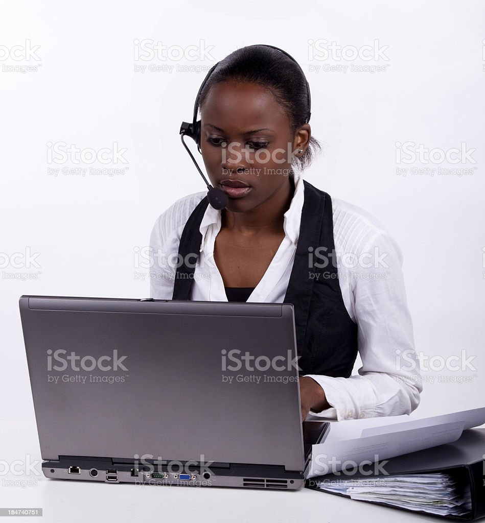Worried telephonist royalty-free stock photo