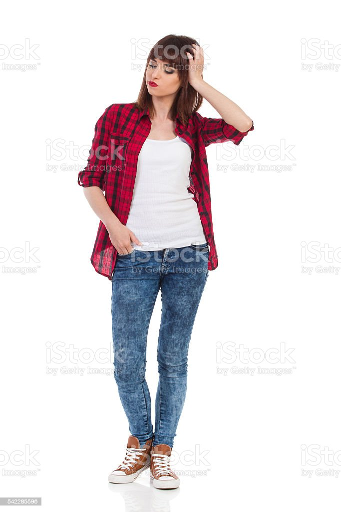 Worried Woman Full Length stock photo