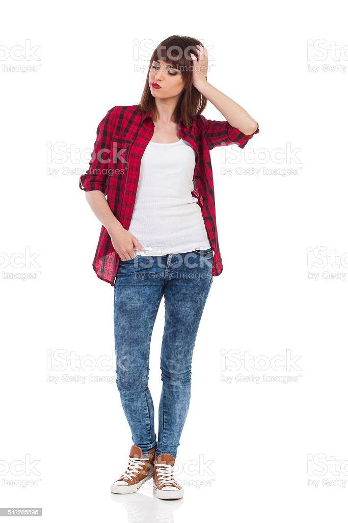 Worried Woman Full Length stock photo