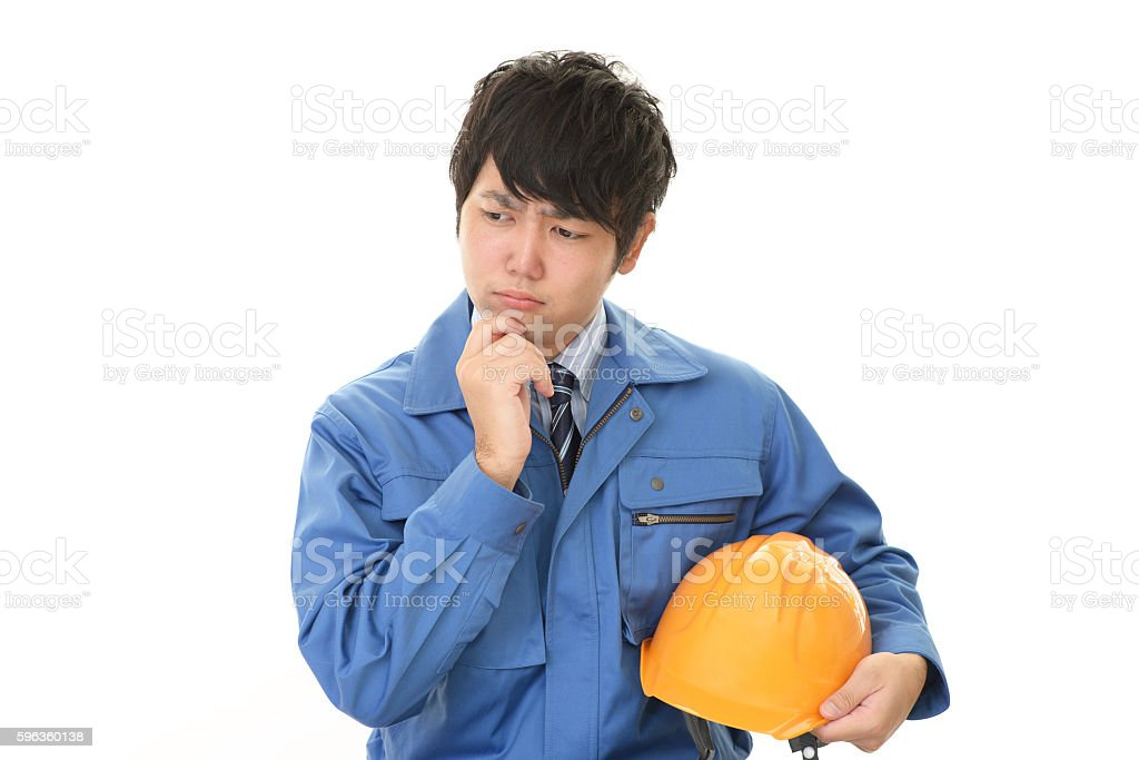 Worried worker stock photo