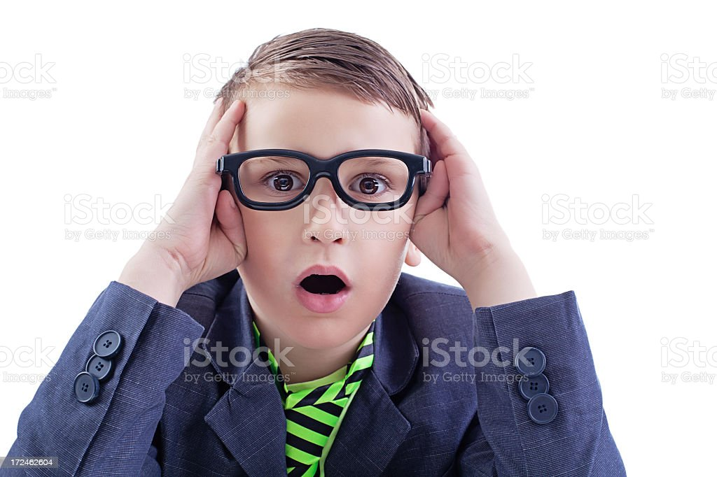 Worried young boy in glasses royalty-free stock photo