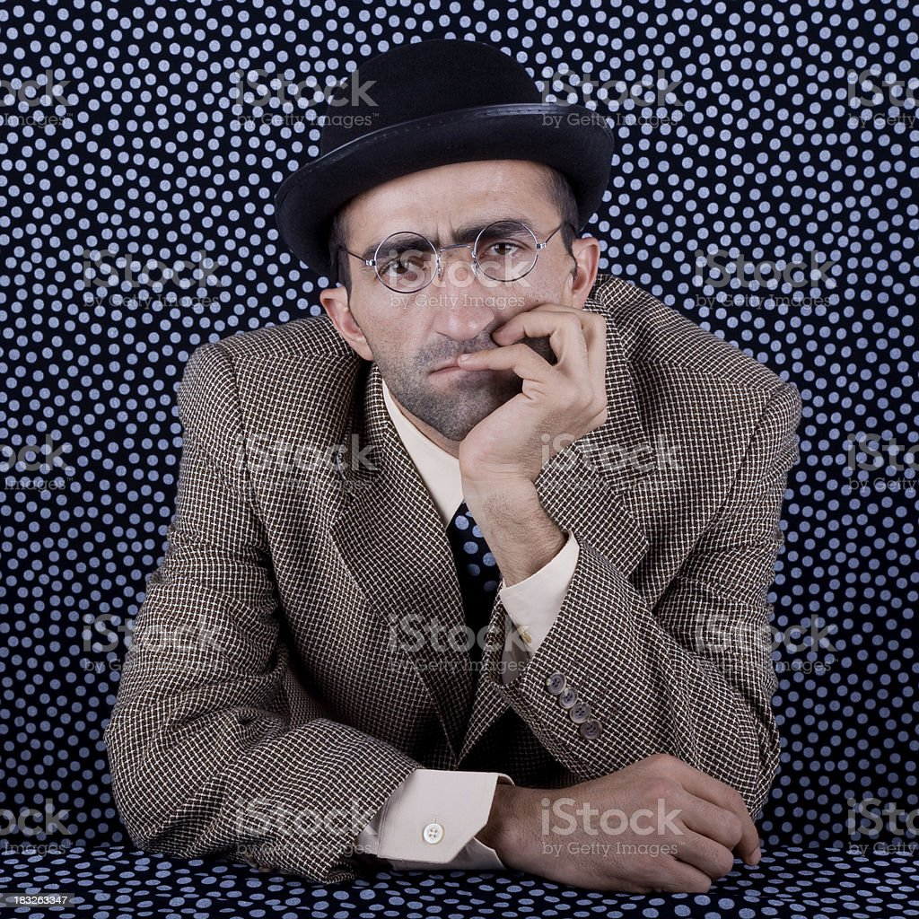 Worried young man portrait stock photo